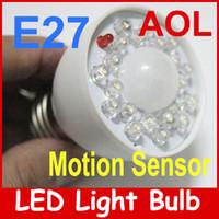 Wholesale E27 Energy Saving LED Human sensor lights PIR Occupancy Motion Sensor White Light Bulb smart W