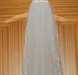 Wholesale 2014 T White Ivory Elbow Beaded Edge Pearl Sequins Floral Figure Bridal Wedding Veil