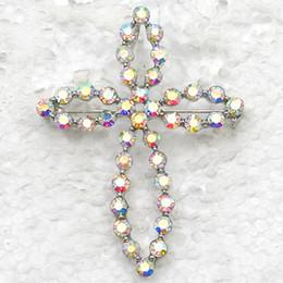 Wholesale Crystal Rhinestone Cross Brooches Fashion Costume Pin Brooch & Pendant jewelry gift C381