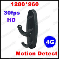 Wholesale 30fps Black Clothes Hook Style x960 HD Spy Camera with Motion Detector GB Micro TF Card Camcorder