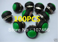 Push Button Switches   Free shipping 100pcs green MOMENTARY OFF-(ON) Push Button Car Switch,33G