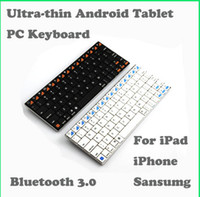 Wholesale New Design thin Blade Wireless Bluetooth Android Tablet PC Keyboard For ipad iphone sansumg Retail Box Freeshipping