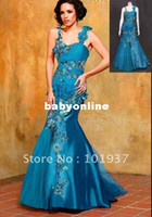 Wholesale Custom Made Real Sample Name Brand Evening Dress Appliques Beaded Rhinestone Modest Dress Evening