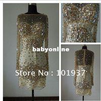 Wholesale Custom made Sexy Crystal Shiny Acrylic Beading Mini Prom Dress JOV5577