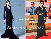 Reference Images Organza Formal Evening Free Shipping Sexy Sonam Kapoor Hindustan Times Style Awards Long Sleeve Red Carpet Evening Dresses 2013