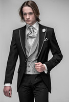 Reference Images best brand suits - Brand New Groom Tuxedos Black Peak Lapel Groomsmen Best Man Men Wedding Suits Prom Formal Bridegroom Suit Jacket Pants Vest Tie A