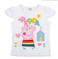 Wholesale K4079 Nova New Peppa pig Summer Cotton Children Cartoon Tops kid clothes girls short sleeve tees leisure t shirt
