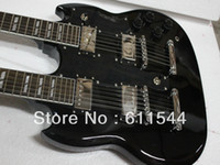 Cheap other black led Best other Mahogany double neck