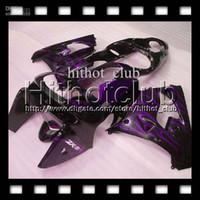 achat en gros de zx9r purple-Purple flames noir 7gifts + Gratuit Personnalisé pour KAWASAKI 98 99 NINJA ZX9R HL # 1641 Blow violet ZX-9R 9 R ZX 9R 98 99 1998 1999 100% NOUVEAU Kit de carénage