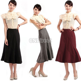 Wholesale New Women s Retro England Hemline Gentlewoman Wool Silk Skirt Dress Colors Sizes
