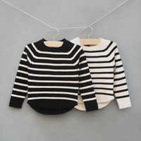 Wholesale Fashion Stripe Casual Pullover Knitted Sweaters Children Pullover Girl Clothes Wool Sweaters Long Sleeve Pullover Kids Sweater Child Wear