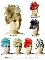 Band sinamay hat - 2013 Sinamay bridal Feather Fascinator hat hair accessory for wedding kentucky derby can pick the color