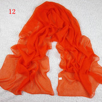Wholesale Chiffon Women Scarf Plain Color Mix Order cm Autumn Season A12
