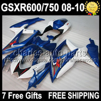 7gifts For SUZUKI Blue white GSX R600 R750 2008 2009 2010 GS...