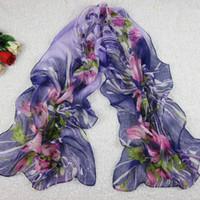 Wholesale Chiffon Women Scarf Flower Purple Color cm Autumn Season A17