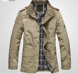 Wholesale Spring and Autumn Stand Collar Medium long Male Casual single Jacket Men s clothing Outerwear