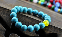 Wholesale Bohemian national wind retro turquoise natural yellow agate bracelet bohemian