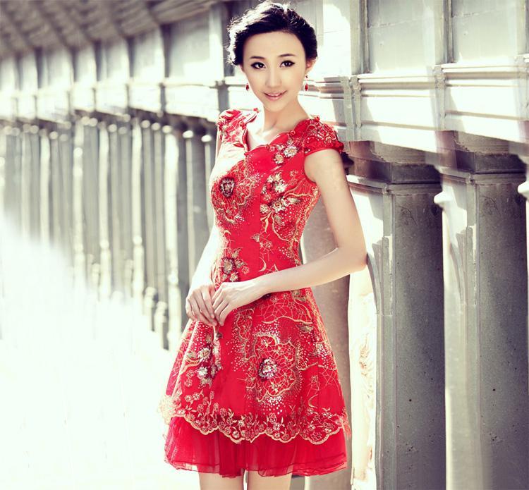 New Bride Cheongsam Chinese Style Red Short Dress Toast Clothing Fashion Wedding Dress Wedding