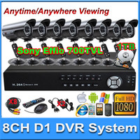 Wholesale Full CH HDMI P H CCVT DVR Sony Effio CCD tvl IR mm lens outdoor camera CCTV systems cctv camera kit with TB HDD