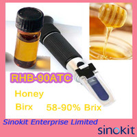 Wholesale Hand Held Honey Brix Refractometer Black Rubber RHB ATC with Calibration Oil