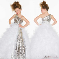 Beads beating kids - Beat Sale One Shoulder Hand Made Floor Length Ruffles Organza Crystal Beaded Kids Pageant Dresses