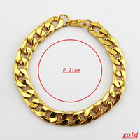 African men titanium bracelet - 2013 New Arrival Fashiom Bracelet For Men European Style Chunky K Gold Plated Titanium Steel Chain Bracelet B105