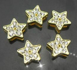 Wholesale 8mm 100pcs lot Rhinestones Gold Color Star Slide Charm Fit for 8MM DIY bracelet keychains