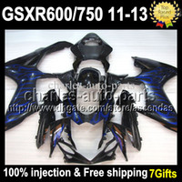 For SUZUKI GSX R600 Blue flames R750 11 12 13 Injection Mold...