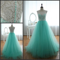 Wholesale 2013 Lace Tulle Turquoise Wedding Dresses Sleeveless Sweetheart Floor Length Ball Gown Bridal Gown
