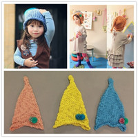 Wholesale Manual Korean baby Caps Super beautiful The elves children hats Roll edge kids Christmas hat year QS443