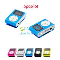 Wholesale 5pcs New LCD Screen Metal Mini Clip MP3 Player earphone Colors