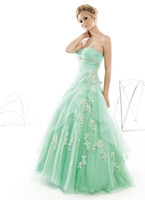 Ball Gown Classic Appliqué Aqua Ball gown Organza Sweetheart Prom dresses Pageant Gown with appliques and lace up back BO1682