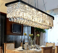 Wholesale Length L100cm x W25cm Modern LED Crystal Chandelier Droplight Pendant Light Ceiling Lamp Chandeliers Lighting For Living Room GHJC100