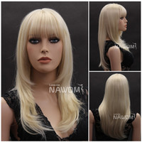 straight Asian Wigs Christmas Long Straight Wig Blonde Neat Bangs NAWOMI Kanekalon Material Natural Hairline Glueless Cheap Synthetic Wigs Fashion Style W3920