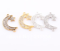 Crystal, Alloy bead connectors links - Sideways Crystal Moon Star Connector Link Beads DIY Rhinestone Charm Bracelet Handcrafted Jewelry Findings ZBE104
