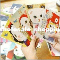 Wholesale Freeshipping New Fashion Cute Creative Cartoon Cat Postcard Birthday Greeting Card Christmas gift
