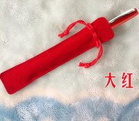Wholesale red velvet pen bag pen pouch pen case with rope more color can select
