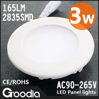 No 85-265V other Wholesale,3w round led panel light,2835 SMD(15pcs),Cool white Warm white,165lm,AC90-265V,led ceiling light,freeshipping