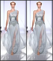 Wholesale Haute Couture Sliver One Shoulder Lace Zuhair Murad Ladies Evening Dress Formal Celebrity Gown