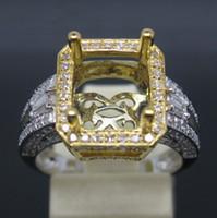 Ring semi mount ring - Emerald MM SOLID K TONE GOLD NATURAL VS DIAMOND SEMI MOUNT SETTING RING