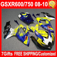 Wholesale 7gifts R750 For CORONA SUZUKI K8 HOT GSX R600 GSXR750 C A33 HOT yellow blue Body GSXR GSXR600 Fairing