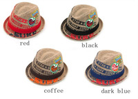 Wholesale STYLISH Boomers Baby Straw Hats Kid Boy Girl Bucket Hats Spring Jazz Top Hat Monocle Sweet Buns Caps For Kids BB54