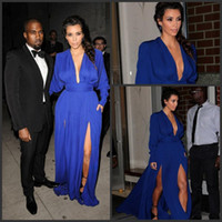 Chiffon Long Sleeve Sweep Train Kim Kardashian Red Carpet Dress-Sexy Deep V Neck Long Sleeve Royal Blue Long Slit Celebrity Dress Evening Dress New Arrival