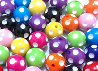 Wholesale 100pcs mm Mix Color Round Polka Dot Beads For Chunky Necklace Kids Jewelry Finding Making DIY