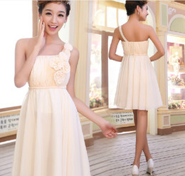 Hot Style Classical One Shoulder Empire A-line Bridesmaid Gown short Evening Dress