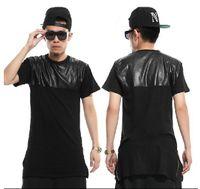 Wholesale New Men s Hebig male zipper lengthen short sleeve T shirt fashion dress leather short tee