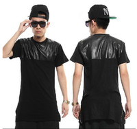 Wholesale New Men s Hebig male zipper lengthen short sleeve T shirt fashion dress leather short tee