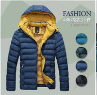 Wholesale 3014 New Fashion Men s Winter Warm Coat Casual Detachable cap thick warm Slim Colors Jacket Outwear