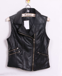 Wholesale 2014 NEW HOT fashion women s sleeveless turn down collar design PU leather clothing vest black motorcycle pu outerwear for Lady