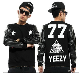 Wholesale YEEZY Men s Hip hop west coast pentagram Set head Street dance Leather sleeve Sweatshirts outerwear